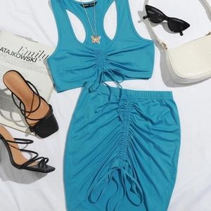 Blue skirt set